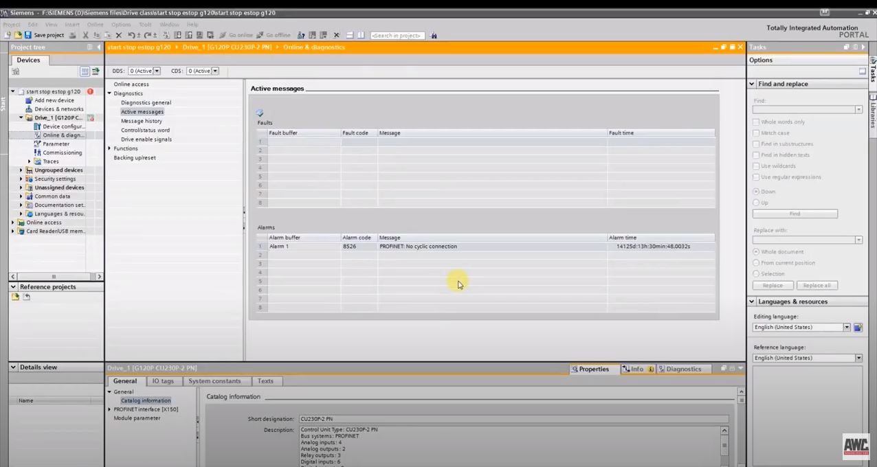 Siemens: How to troubleshoot Fault Code A08526 on a G120 in TIA Portal
