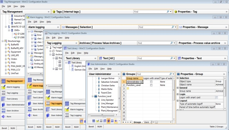 Siemens: How to program structured tags in WinCC V7